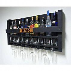 Home Bar nook Wine Glass Rack, Wine Rack Wall, Bar Sala, Home Bar Cabinet, Game Room Bar, Home Bar Decor, Wine Shelves, Home Bar Designs, Wooden Pallet Projects