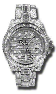 Rolex GMT Master II Diamond Automatic 18kt White Gold Set With Diamonds Mens Watch 116769TBR $397,987