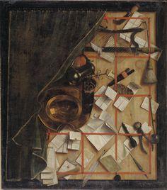 Cornelius Norbertus Gijsbrechts (1657-1683), Trompe l'oeil. Brevvaeg med bartskaer-instrumenter, 1668