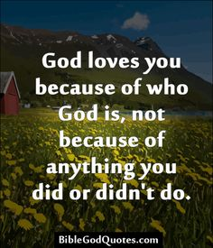 Because of JESUS' FINISHED work! ❤️God loves you because of who God is, not because of anything you did or didn't do. Faith Quotes, Bible Quotes, Bible Verses, Scriptures, Religious Quotes, Spiritual Quotes, God Loves You, Jesus Loves, Lectures