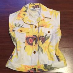 Vintage White Denim Sunflower Chic Vest True Vintage! Opal by Lorraine Wardy White Denim Sunflower Vest w/ Adorable Jewel Buttons. Perfect, flawless condition!! (Please note, this is a vintage piece, not Anthropologie brand) Size Small Anthropologie Jackets & Coats Vests