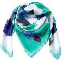 Siladora - Green Birds Silk Scarf ($185) ❤ liked on Polyvore featuring accessories, scarves, silk scarves, summer shawl, summer scarves, patterned scarves and tie summer scarves