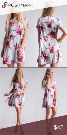 Floral Print Choker Dress Absolutely Beautiful Dress! Beautiful Print! Perfect for Summer 🌻🌷🌸 Dresses