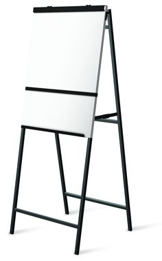 Atlas A-Frame Flipchart Easel with White Board  STRONG and DURABLE best describe these heavy-duty A-frame lightweight portable flipchart easels. Rich and distinctive black epoxy powder-coated finish and white erasable magnetic surface. • Spring-loaded top paper clamp • Takes standard 27″ X 34″ pads with 17″ center to center punched holes • Weighs just 18 lbs. • Overall height: 72″, width: 28″, closed depth: 2 1/2″