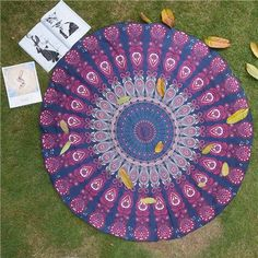 The Beautiful Round Flower Multi-Function Chiffon Blankets Can Use as Yoga Mat Wall Hanging,Tablecloth,Retro Beach Towel Yoga Blanket, Beach Blanket, Mandala Blanket, Large Blankets, Floral Fabric, How To Do Yoga, Bohemian Style, Beach Mat, Outdoor Blanket