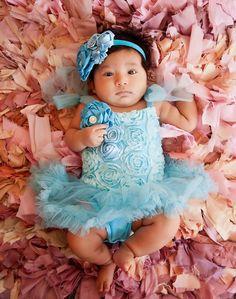 teal blue blossom tutu baby jurkje + haarband Kirei Sui