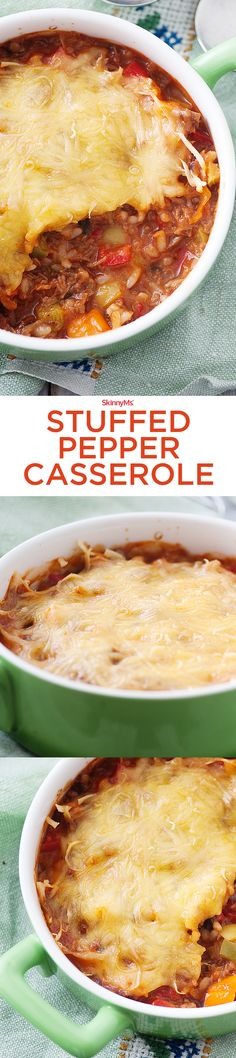 Add this Stuffed Pepper Casserole to your clean eating menu plan this week! #skinnyms #mealplanning