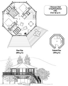 , 2 Bedrooms, 1 Baths, Pedestal Collection by Topsider Homes Dome House, House Floor, Architecture Interiors, Architecture Plan, Octagon House, Tiny House Nation, Studio Apartment Decorating, Wooden Cabins, Round House