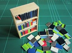 """Easy books to fill a bookcase printheal.com - made from """"slices"""" of brochures and magazines with glued spines - see https://www.youtube.com/watch?v=3mSOHOT944c&feature=youtu.be"""