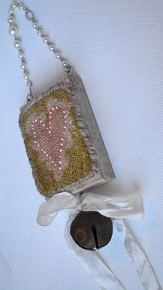 Primitive Punch Needle Pink Heart Ornament  Pearl by Gollywobbles, $15.00