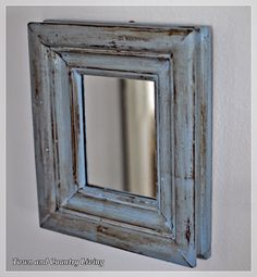 """Let's go back into the family room.   This little blue mirror is about 6"""" square and another find from Carter's Cottage.  I'm thinkin' it wears Louis Blue ASCP with dark wax."""