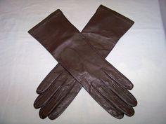 1960 Women's Leather  Dark Brown Opera Gloves Vintage  by SanMonet, $25.00