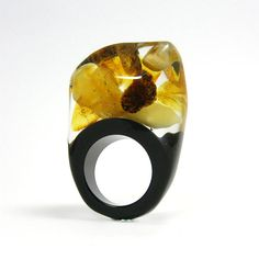 Amber and Black Resin Ring model CH2
