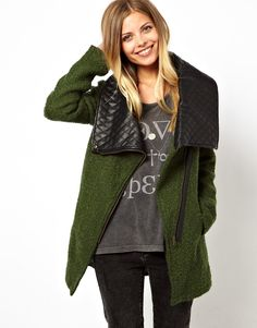 Noisy May | Noisy May Oversized Coat With Faux Leather Collar at ASOS