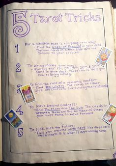 Kelsey's Craft Corner: Spell book pages from my DIY spell book; 5 Tarot Tricks Kelsey's Craft Corner: Spell book pages from my DIY spell book; Magick Spells, Witchcraft, Jar Spells, Tarot Card Spreads, Tarot Astrology, Tarot Card Meanings, Psychic Readings, Oracle Cards, Card Reading
