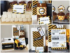 Construction Party Printables from Jackal Design Drink Labels, Bunting Flags, Construction Party, Cupcake Wrappers, Party In A Box, Thank You Tags, Table Cards, Wood Planks, Party Printables