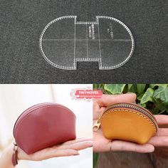 Leather Coin Purse, Change Bag Acrylic Template - 1 size for choose, Leathercraft Pattern BBX Leather Jewelry, Leather Craft, Leather Purses, Leather Tooling, Leather Bags, Journal En Cuir, Diy Bags Purses, Coin Purses, Key Bag