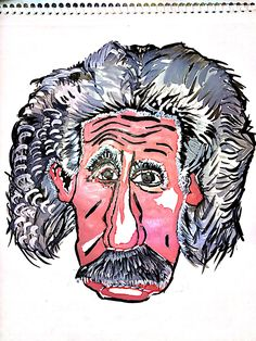 #Einstein #cartoon #painting #watercolor #science #art #genius