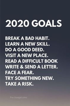 New Year Goals 2020 Goals: Break a bad habit. Read a difficult book Write & send a letter. Face a fear. Try something new. New Year Motivational Quotes, Happy New Year Quotes, Quotes About New Year, Positive Quotes, New Year Sayings, New Year Resolution Quotes, Year Resolutions, New Year Goals, New Year New Me