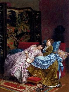 """""""An Afternoon Idyll"""" (1874) by Auguste Toulmouche (1829-1910)."""