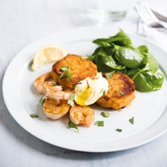 Amelia Freer's Sweet Potato Cakes With Grilled Tiger Prawns and Ginger-Saffron Yogurt - Woman And Home