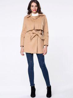 Lapel Plain Storm Flap Removable Tie Woolen Coat Only $36.95 USD More info...