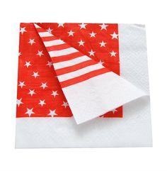 Vermelho e Branco : Guardanapos de papel Dupla Face - listrado Vermelho e estrelinhas www.polkadotfestas.com.br