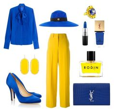 """blue and yellow"" by xenia-fashionista ❤ liked on Polyvore featuring Cédric Charlier, Liam Fahy, Barbara Bui, Gucci, Yves Saint Laurent, Kendra Scott, Rodin and MAC Cosmetics"