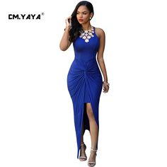CMYAYA 2016 New Women Sexy Summer Blue Sleeveless Off the Shoulder Asymmetrical Maxi Split Dress at our web shop http://www.aliexpress.com/store/536244