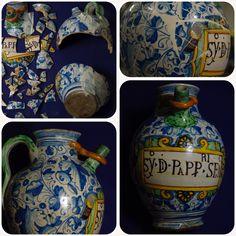 Majolica pharmacy Jug, conservative restoration #ceramics #restoration #antiquqriato #pharmacy