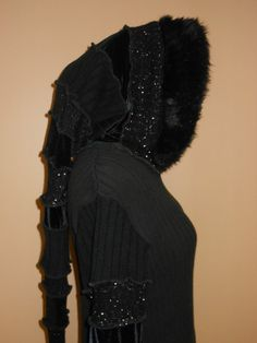 Recycled Sweater Swoodie Hoodie Black With Fur Long Hood  Fairy Coat By SewWonderifical