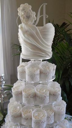 Wedding Cake: Gallery Images Of Amazing Wedding Cakes Ever Made, Amazing Sugar Ruffle Wedding Cake with Beautiful Sugar White Roses in Lace Cupcakes Tower Wedding Dress Cupcakes, Lace Cupcakes, Cupcake Cakes, Cupcake Wedding, Dress Wedding, Lace Wedding, White Cupcakes, Shoe Cakes, Cupcake Dress Cake