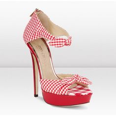 Jimmy Choo ICONS 145mm Red/White Brigitte Gingham Print Platform Sandals Shoes