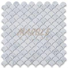 Carrara White Medium Fish Scale Fan Shaped Mosaic Tile Honed - Marble from Italy Honed Marble, Marble Mosaic, Mosaic Wall, Mosaic Tiles, Wall Tile, Traditional Mosaic Tile, Marble Online, Fish Scale Tile, Marble Polishing