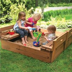 A sandbox is a great gift for children 6 months and older. Include 8-10 toys such as molds, buckets, shovel, and a bin to put them away when they are done. Make sure you let them get the sand wet...it's the only way to make molds and castles! Badger Basket Two Bench Wood Sandbox