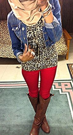 Red skinny jeans, leopard tee, jean jacket, brown boots - gold bangles as jewelry accent!