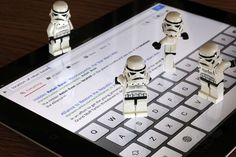 Lego storm troopers operating an iPad... YEAH