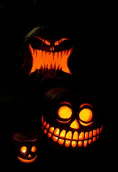 great carved and lighted pumpkins