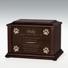 Medium Protecting Paws Adoration Cremation Urn - Engravable Farewell Words, Only God Knows Why, Pet Cremation Urns, Memorial Stones, Pet Urns, Walnut Veneer, Black Felt, Rainbow Bridge, Pet Memorials