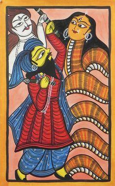 Chand Saudagar (Devotee of Shiva) Fights Snake Goddess Manasa - Bengal Folk Art Madhubani Art, Madhubani Painting, Bengali Art, Snake Goddess, Art Of Fighting, Indian Folk Art, India Art, Hindu Deities, Art Graphique