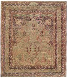 LAVER KIRMAN TREE OF LIFE, Southeast Persian rug 8ft 9in x 10ft 0in 3rd Quarter, 19th Century This memorable Persian Laver Kirman antique carpet combines rare sensitivity to color and design with excellent craftsmanship to create an idyllic garden landscape.