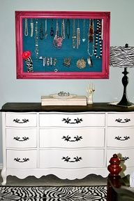 """could use this idea with that big frame I thrifted, then """"moi jewels become d'art !!!"""" Second look, the dresser is like Coco's except painted with a black to and handles, furniture redo too."""