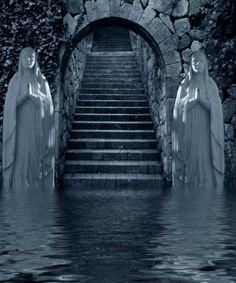 Watery Portal.  I can just see this being in a fantasy movie or book. Only without the statues being Mary.