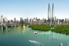 Torres gemelas para el skyline de Dubai. Hay un ambicioso plan urbanístico para Dubai que incluye la construcción de dos torres idénticas, que serán las más altas del mundo. El lugar elegido está próximo a una reserva natural de humedales protegida. El desarrollo también incluye otras torres más bajas con hoteles, oficinas, y apartamentos.  #Actualidad, #Arquitectura, #Urbanismo