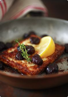 Saganaki with Sautéed Grapes. These are way too large and i would roll in tapioca flour rather than corn starch. BUT with smaller pieces I think they'd be fabulous!