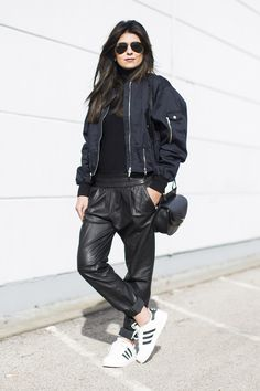 Outfit | Bomber Jacket   Baggy Leather   Superstars