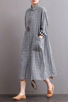 "Linen Plaid Casual Loose Shirt Dress,Winter Long Shirt for Women ""Fabric: LooseSeason: Autumn,WinterType: DressPattern Type: PlainSleeve Length: Long"