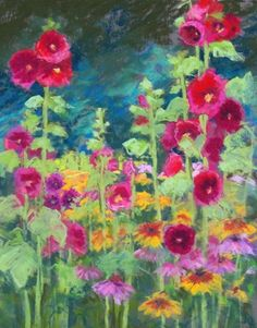 Marsha Hamby Savage ~Regal Hollyhocks My Favorite Garden Flower.next To  Sunflowers.