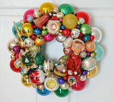 Wreath from vintage ornaments- LOVE