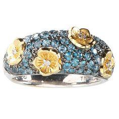Dweck Diamonds Sterling & 14K Gold Clad Caroline Pave Gemstone Ring 6 J587 #diamantjewels #Fashion
